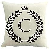 Funda de almohada de lino y algodón con diseño de letras y coronas, 18 x 45,7 cm