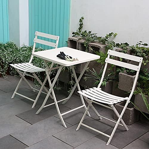 Wikidea Garden Bistro Set 3-teilige Faltbare Terrassenbalkonmöbel aus Metall im Freien weiß farbiges ESS-Patio-Set(Size:Square 3pcs/Set)