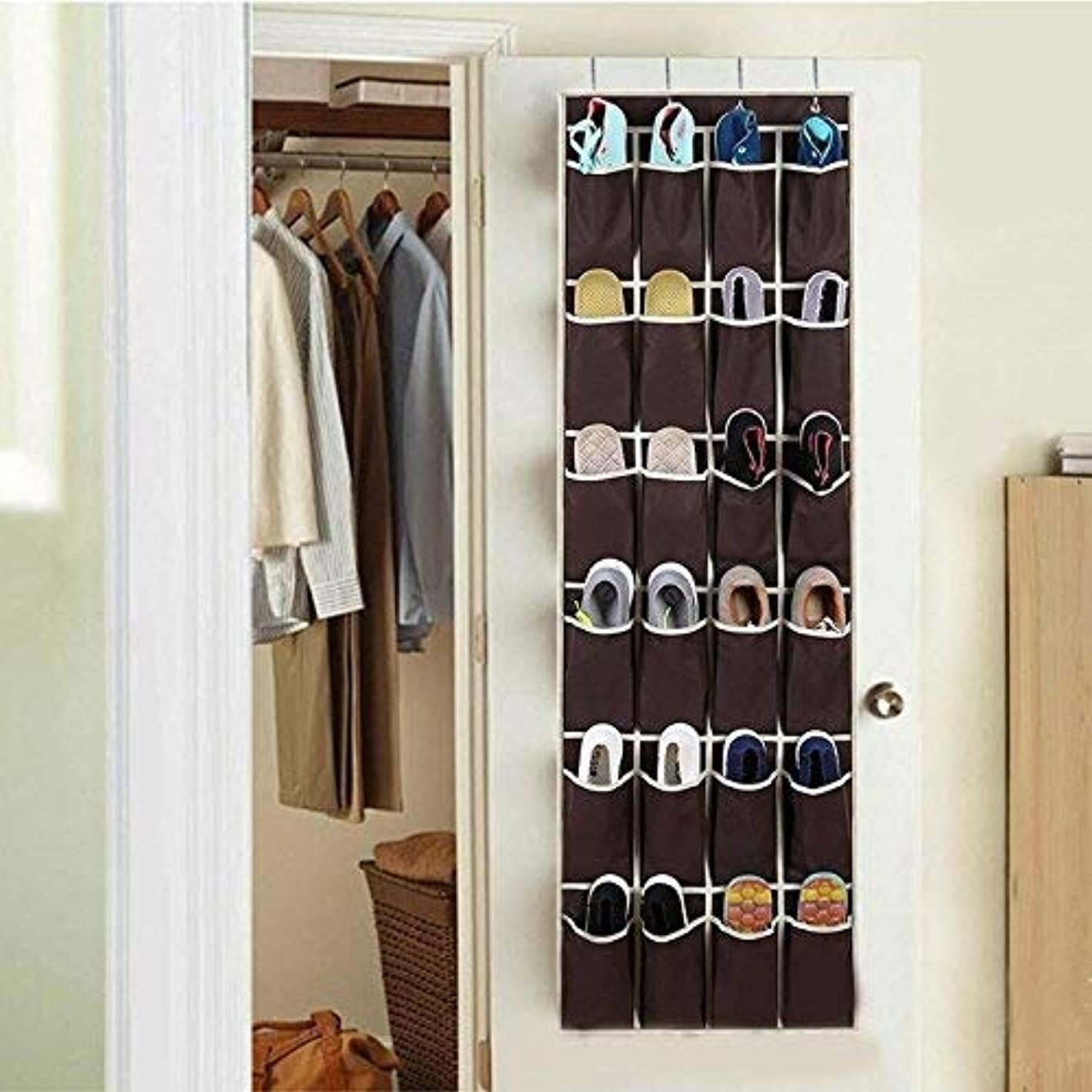 Hanging Storage Bag - 24 Pockets Non Woven Hanging Storage Bag Behind Over The Door Shoes Organizer Holder Sorter - Small Clothing Clothes For Mesh Container Wall Books Pink Bedside