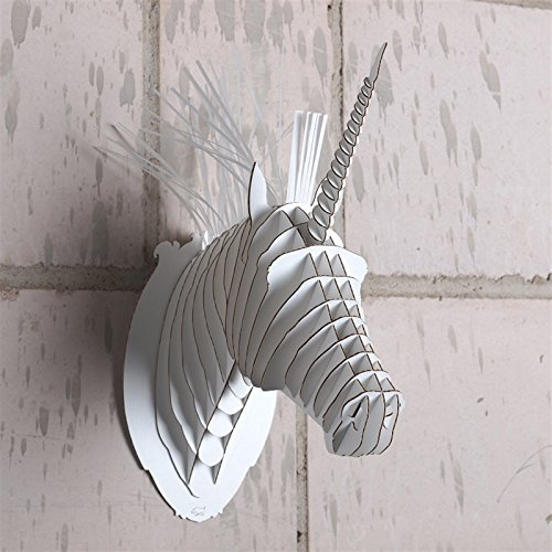 Cardboard Safari   Merlin de eenhoorn, wit   3D dierenkop, decoratief gewei