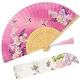 """OMyTea """"Orchis"""" chinesischer/ japanischer Seiden-Handfächer für Damen, mit Bambusrahmen und einer Schutzhülle aus Stoff, Textil, WZS-24"""
