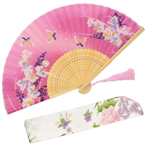 OMyTea Hand Held Silk Folding Fans with Bamboo Frame - with a Fabric Sleeve for Protection for Gifts - 100% Handmade Oriental Chinese/Japanese Vintage Retro Style - for Women Ladys Girls (WZS-24)