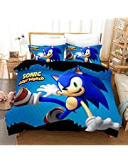 Inget märkta set med påslakan för barn, Sonic The Igelkotten 3D tecknat tryckt sängkläder set mikrofiber pojkar sängkläder 2 delar inklusive 1 påslakan, 1 örngott (SNK01, enkel 135 x 200 cm)