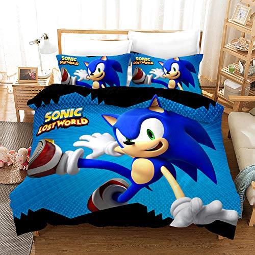 Funda nórdica para niños Juego de ropa de cama para niños con estampado de dibujos animados en 3D de Sonic 3D 2 piezas que incluyen 1 funda nórdica, 1 fundas de almohada (01, individual 135 x 200 cm)