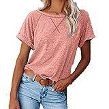 WANGTIANXUE Camisa de manga corta para mujer, para verano, cuello redondo, básica, túnica, blusa de mujer, larga, deportiva, monocolor, camiseta interior de algodón para mujer Rosa. M