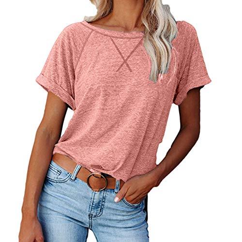 Camiseta bsica de verano para mujer, informal, slida, elegante, manga corta, cuello redondo, bsica, camiseta de verano, Rosa A., XL