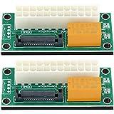 com-four® 2X Dual Power Netzteil Adapter PSU ATX 24 PIN zu SATA 15 PIN Board für die Synchronisierung von Netzteilen für Mining, Mining-Systeme wie Bitcoin, Ethereum (02 Stück - Adapter ATX zu SATA)