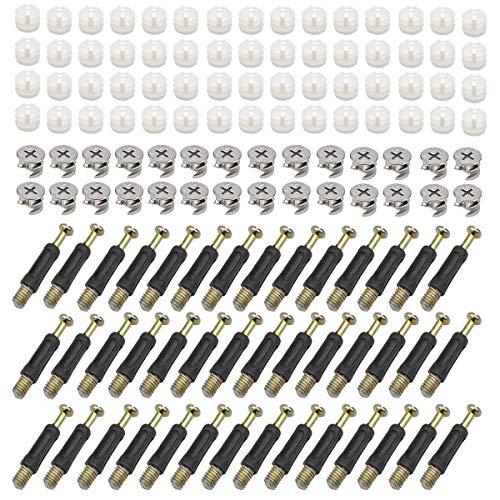 Mengger 100 Stück Exzenter Möbelverbinder 10mm schrankverbinder bohrschablone Verbindungsbeschlag für Möbel Tischschränken Einschraubdübel mit Abdeckrand