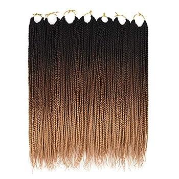 Ailsa 7Packs Crochet Braids Hair,Senegalese Twist Crochet Hair for Black Women,Prelooped Crochet Hair Ombre Color 30 Strands/Pack  18inch 1B/30/27