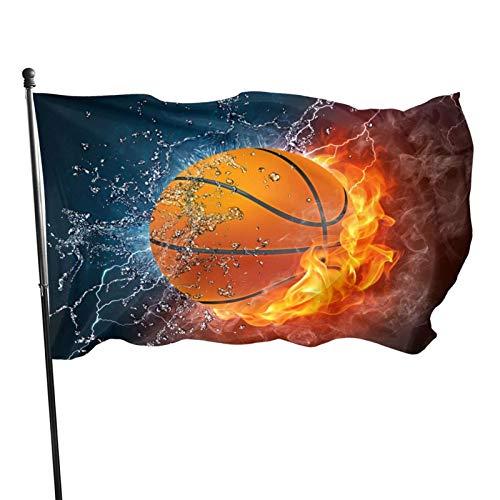 Bandera de baloncesto de fuego y agua, 3 x 5 pies, gran pancarta de poliéster cosida, bandera estándar para colgar en el exterior, para jardín, césped, vacaciones