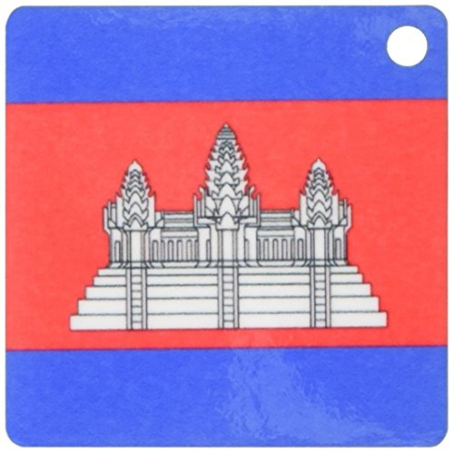 3dRose Vlag van Cambodja Cambodjaans Rood Blauw met Witte Angkor Wat Tempel Zwarte Omtrek Sleutelhanger, 6 cm, Varies