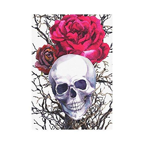 Trista Bauer Menschlicher Schädel mit Rosen-Blumen-Polyester-Garten-Flaggen-Fahne 12x18 Zoll, Aquarell-gespenstische Halloween-dekorative große Haus-Flaggen