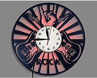 c453687563c GYGUYHIHY Rock Music Guitar Vinyle Record Horloge Murale, LED Lumineux 12  Pouce Rétro Record Vinyle