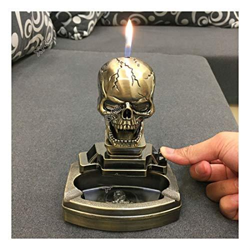 COLIBROX Skull Shape Novelty Cigarette Cigar Ashtray Ash Tray with Lighter