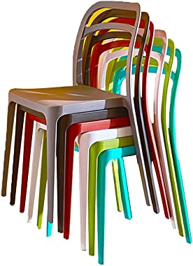 WUQIANG Barstool Dining Chair/Modern Stackable Plastic Chair, Six-Piece Curved Backrest Dining Chair