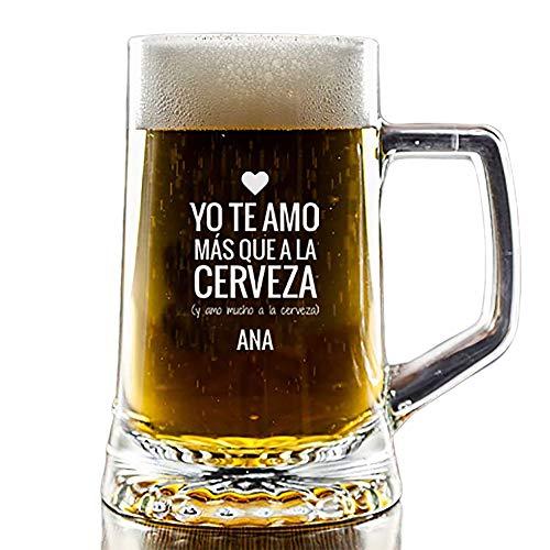 Calledelregalo Regalo Personalizado para tu Pareja: Jarra de Cerveza 'Te Amo' grabada con el Nombre Que Quieras
