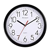 Moonport - Reloj de pared (25,4 cm), diseño moderno y silencioso de cuarzo redondo fácil de leer para oficina/cocina/reloj Shcool, funciona con pilas de 25 cm, color negro