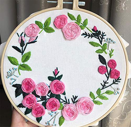 DIY Flower Love Embroidery Kits Cross Stitch Sets Needlework Sets for Beginner Arts Craft Painting Home Decor,D4