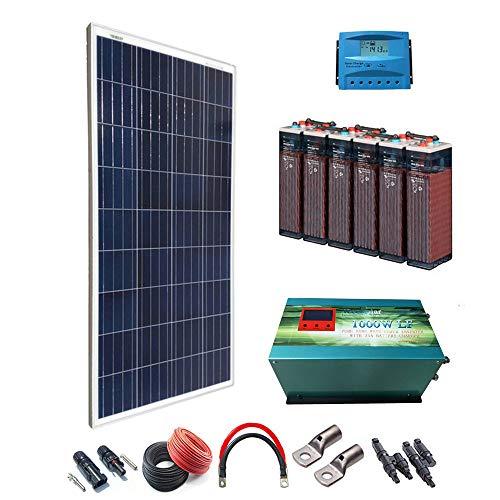 Kit Solar 12v 600W/3000W día Regulador de carga PWM 40A Inversor 1000w onda pura con...