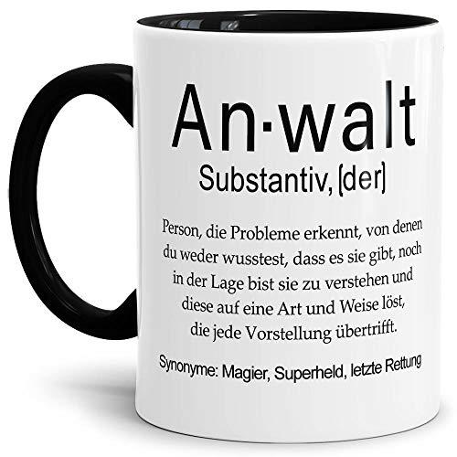 Tassendruck Tasse mit Definition Anwalt - Wörterbuch/Geschenk-Idee/Dictionary/Beruf/Job/Arbeit/Familie/Innen & Henkel Schwarz