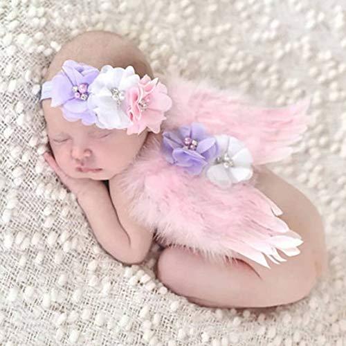 NROCF Baby Foto Requisiten Neugeborenen Fotografie Prop, Angel Feather Wings Outfit Kostüm mit Haarschmuck Pink, Foto-Shooting Prinzessin Kleidung
