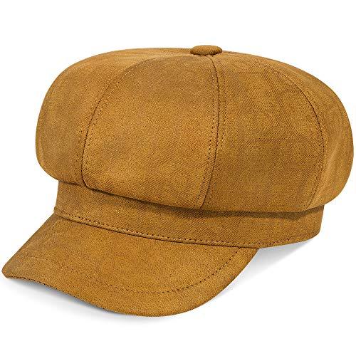 ColorSun Women's Newsboy Caps Newsboy Hats for Women Cabbie Fiddler Octagonal Paperboy Hat (Caramel, Medium)
