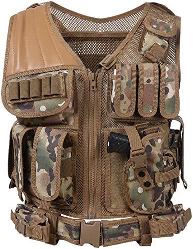 Chaleco táctico de pistola de aire paintball, caza al aire libre, chaleco de entrenamiento de combate ligero y transpirable, -,