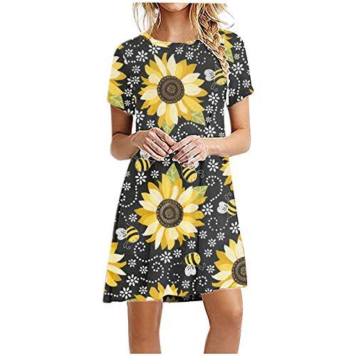 Vestidos de verano para las mujeres de moda impresión colorida suelta cuello redondo manga corta hasta la rodilla vestidos de verano vestido de cintura alta playa falda