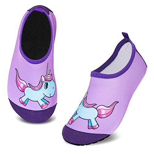 Escarpines de Baño para Niños Zapatos de Agua de Secado Rápido y Antideslizante Zapatos de Agua Bebé Niño Niña Zapatos de por Parque Acuático(Unicornio Morado,12/12.5 UK Child,30/31 EU