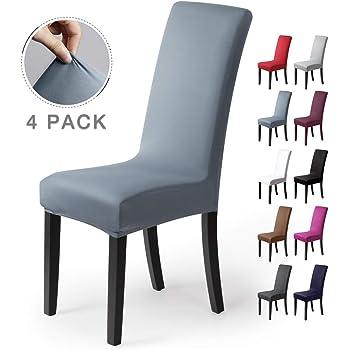 Fundas para sillas Pack de 4 Fundas sillas Comedor Fundas elásticas, Cubiertas para sillas,bielástico Extraíble Funda, Muy fácil de Limpiar, Duradera (Paquete de 4, Niebla-Azul): Amazon.es: Hogar