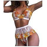 Conjunto de lencería sexy de encaje bordado para mujer, sujetador floral pequeño con tanga, conjunto de 3 piezas