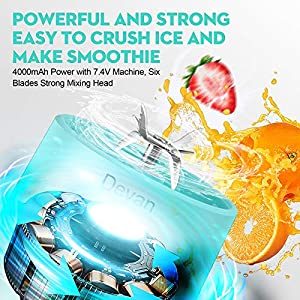 Upgraded Version Portable Blender, 16.9 Oz Personal Size Blender, Juicer Cup for Juice, Crushed Ice, Smoothies and Shakes, 4000mAh USB Rechargeable with Six Blades, Mini Blender for Sports Travel, Gym and Outdoors