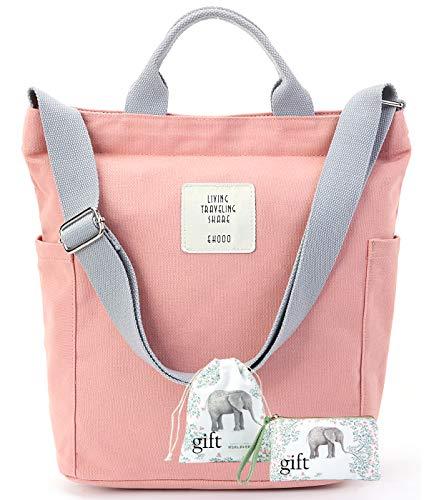 Worldlyda Women Canvas Tote Purse Handbags Crossbody Shoulder Bag Casual Work School Shopper Hobo Top Handle Handbag Almond Pink