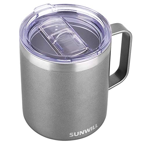 SUNWILL Coffee Mug with Handle, 14oz Insulated Stainless Steel Coffee Travel Mug, Double Wall Vacuum Reusable Coffee Cup with Lid, Cool Grey