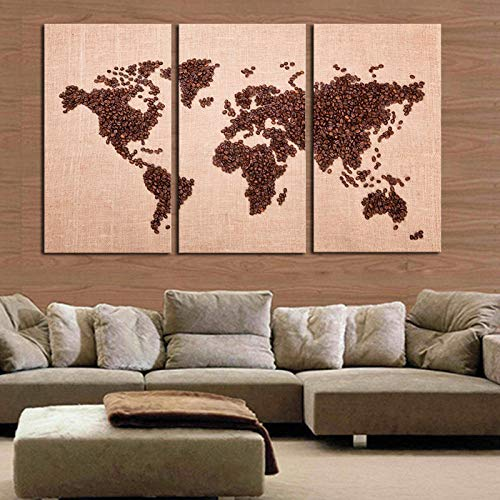 Modern World Map Print Canvas Painting On Canvas 3 Pcs Wall Art HD World Map On Canvas Wall Picture For Living Room Decor-50x70cmx3 No Frame