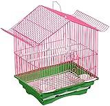 Jaula dpájaros duradera y ecológica, Jaula de vuelo para periquitos Parakeet Jaulas para 1 pájaro, jaula de viajes de aves, rosa pequeña jaula de pájaros, decoración de hierro al aire libre Parrot Jau