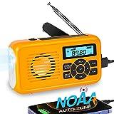 NOAA Emergency Weather Radio, Auto-Tune AM/FM Solar Hand Crank Radio, Survival Solar Radio with LED...