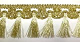 16,40m Fransen-Borte 5cm breit Farbe: Lurex-Gold TSL-1426-A-lt.go