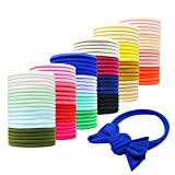 WillingTee 120 Pieces Super Soft Stretchy Elastic DIY Nylon Headbands Baby Hair Bows DIY Bands for Newborns Infants Toddlers One Size Fits All