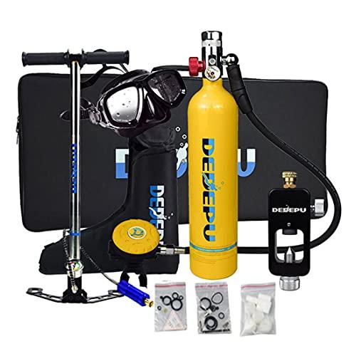 Scuba Diving Tank, 1L Tauchende Sauerstoffflasche mit 15-20 Minuten Kapazität, Mini Tauchflasche mit Hochdruck Luftpumpe, perfekte professionelle Tauchpakete with Refillable Design, für und Tauchen