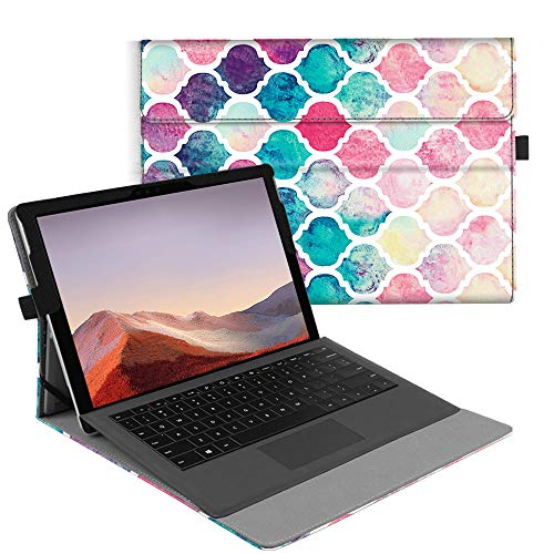 Fintie Case for New Microsoft Surface Pro 7 / Pro 6 / Pro 5 / Pro 4 / Pro 3 12.3 Inch Tablet - Multiple Angle Viewing Portfolio Business Cover, Compatible with Type Cover Keyboard (Moroccan Love)