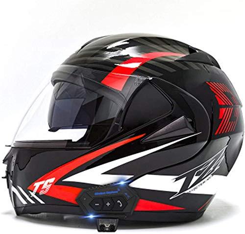 QDY Motorcycle Helmets, Bluetooth Modular Flip Helmet Dual Visors Full Face Helmets, Dot/ECE Approved Helmet,Built-in Speaker Microphone for Men and Women 18,M=(57~58CM)