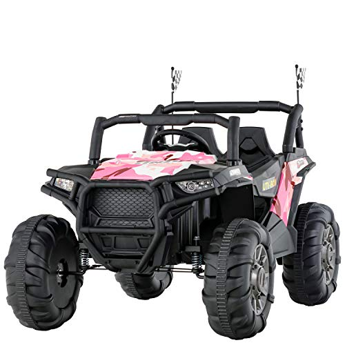 Uenjoy 12V Electric Ride on Cars, Realistic Off-Road UTV, Two Seater Ride On Truck, Motorized Vehicles for Kids, Remote Control, Music, 3 Speeds, Spring Suspension, LED Light(Camouflage Pink)