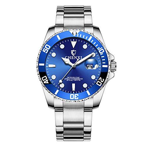 Herrenuhren Kalender Submariner Armbanduhren für Herren Edelstahlband, Blau