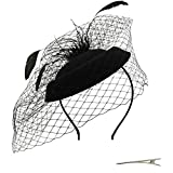 Umeepar Damen Pillbox Fascinator Hut Hochzeit Tea Party Hüte mit Federn Schleier Stirnband Clip (Schwarz)