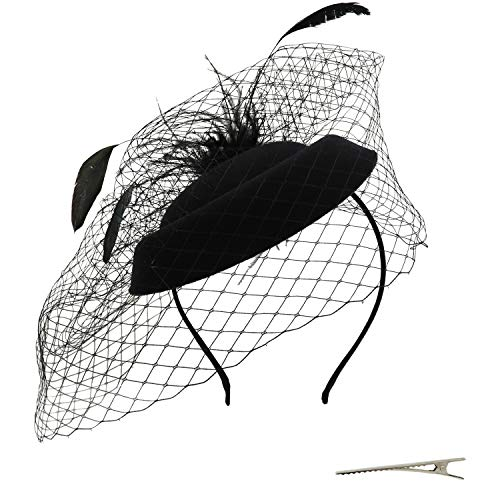 Umeepar Damen Pillbox Fascinator Hut Hochzeit Tea Party Hüte mit Federn Schleier Stirnband Clip (Schwarz)