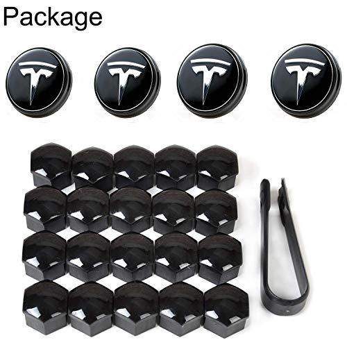 Topfit Model 3 Auto Radnabe Mittelkappen Abdeckung Basis mit blauem LED-Licht Radkappen-Kit Reifenventilkappenabdeckung Logo Styling Combo-Paket für Tesla Model 3