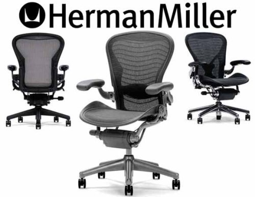 Hot Sale Aeron Chair by Herman Miller - Home Office Desk Task Chair Fully Loaded Highly Adjustable Medium Size (B) - Lumbar Back Support Cushion Titanium Smoke Frame Tuxedo White Gold Pellicle