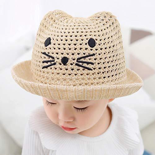 LYNNIE Hut Kinder, Süße Katze Sonnenhut Kinder, Sonnenmütze mit Ohren für Sommerstrand, Süße Mütze für Outdoor-Aktivitäten für Mädchen und Jungen,Beige