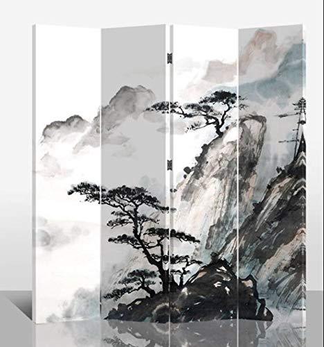 Fine Asianliving Paravent Raumteiler Trennwand Spanische Wand Raumtrenner Sichtschutz Japanisch Orientalisch Chinesisch L160xH180cm Bedruckte Canvas Leinwand Doppelseitig Asiatisch -203-101